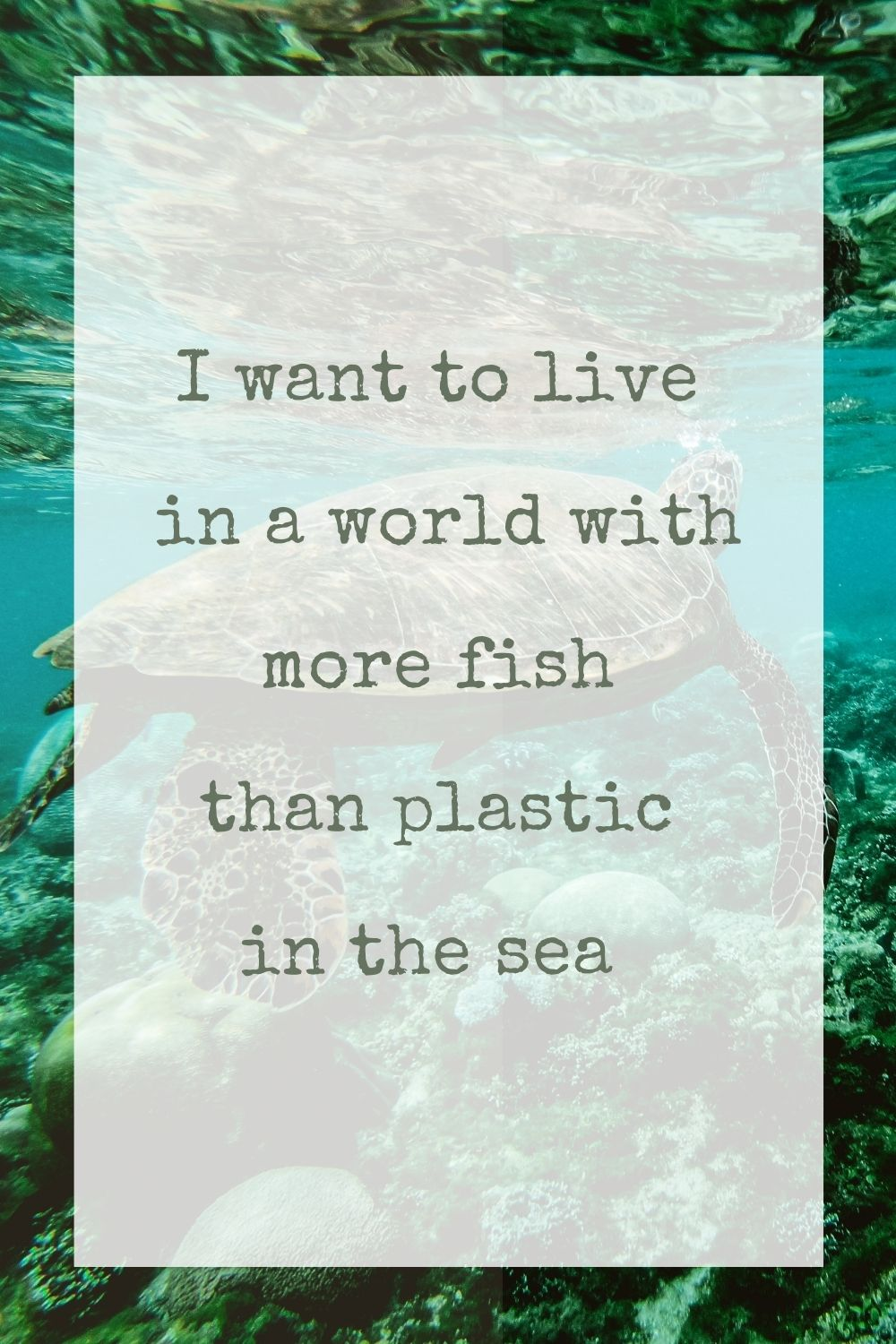 I want to live in a world with more fish than plastic in the sea